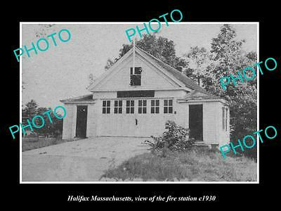 OLD LARGE HISTORIC PHOTO OF HALIFAX MASSACHUSETTS, THE TOWN FIRE STATION c1930