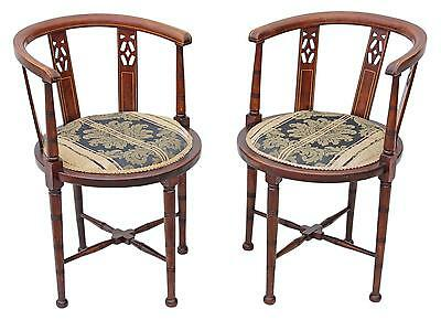 Antique pair of Edwardian mahogany corner arm chairs tub side hall bedroom
