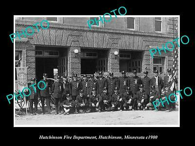 OLD LARGE HISTORIC PHOTO HUTCHINSON MINNESOTA, THE TOWN FIRE BRIGADE c1900