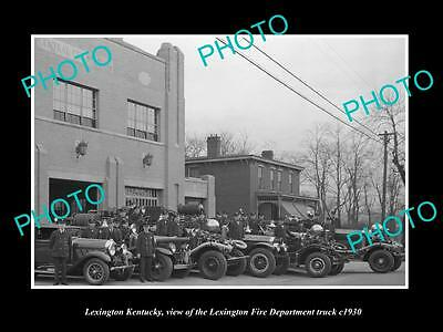 OLD LARGE HISTORIC PHOTO OF LEXINGTON KENTUCKY, VIEW OF FIRE DEPARTMENT c1930 2