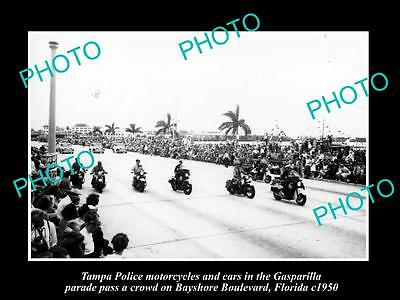 OLD LARGE HISTORIC PHOTO OF TAMPA FLORIDA, POLICE IN THE GASPARILLA PARADE c1950