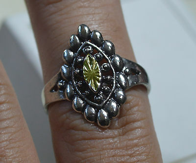 Vintage ANTIQUE estate sterling silver and 14k gold ring, from Spain, size 8, Q