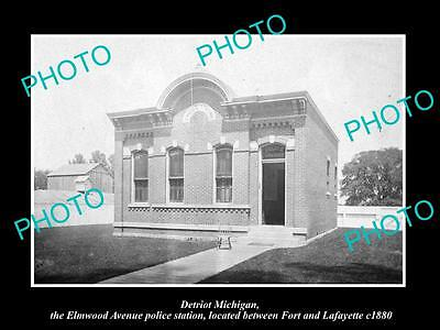 Old Large Historic Photo Of Detriot Michigan, The Elwood Ave Police Station 1880