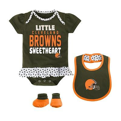 Cleveland Browns Baby Girl Lil' Sweet Creeper Bib Booties (FREE SHIPPING) 6-9 mo