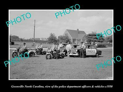 OLD LARGE HISTORIC PHOTO OF GREENVILLE NORTH CAROLINA, POLICE DEPARTMENT c1950