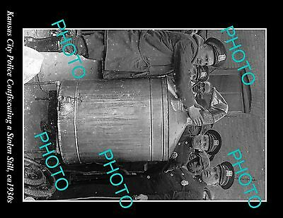 OLD LARGE PHOTO OF KANSAS CITY POLICE WITH STOLEN STILL c1930s, PROHIBITION