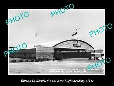 OLD LARGE HISTORIC PHOTO OF ONTARIO CALIFORNIA, CAL AERO FLIGHT ACADEMY c1942