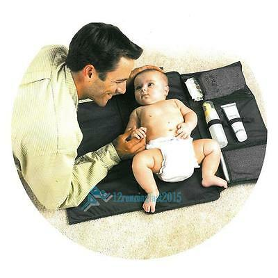 Baby Portable Foldable Waterproof Travel Diaper Nappy Changing Mat Pad Bag Black