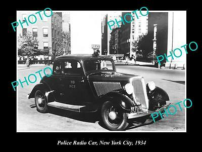 OLD LARGE HISTORIC PHOTO OF THE NEW YORK POLICE RADIO CAR, 10th PCT c1934