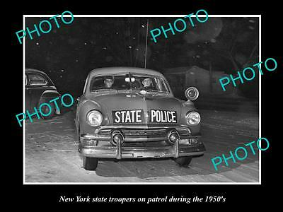OLD LARGE HISTORIC PHOTO OF NEW YORK STATE POLICE PATROL CAR c1950s