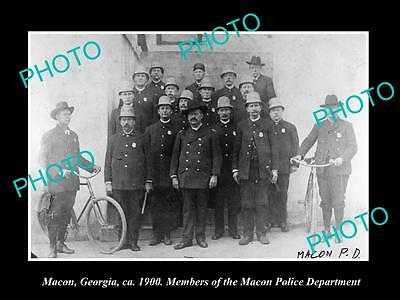 OLD LARGE HISTORIC PHOTO OF MACON GEORGIA, THE POLICE DEPARTMENT UNIT c1900