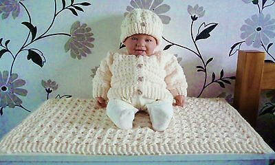Ideal New Baby Unisex Gift Set / Hand Knitted Blanket Cardigan & Hat 0-9 Months.