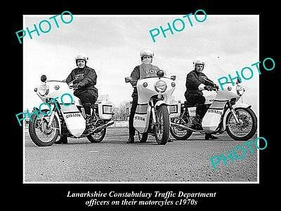 OLD LARGE HISTORIC PHOTO OF LANARKSHIRE POLICE DEPARTMENT MOTORCYCLES, c1970s UK