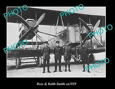 OLD LARGE HISTORIC PHOTO OF AUST AVIATION PIONEERS ROSS & KEITH SMITH c1919