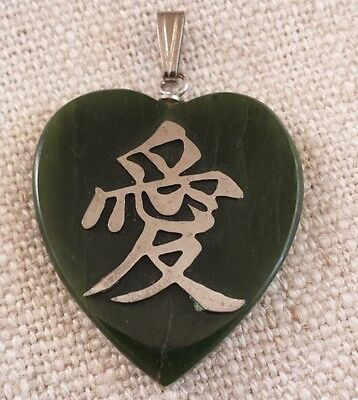 """Rare ! Chinese Antique Apple Green  Jade Pendant & With Sterling Silver """"love"""""""