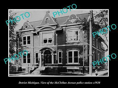 OLD LARGE HISTORIC PHOTO OF DETRIOT MICHIGAN, THE McCLELLAN POLICE STATION c1920