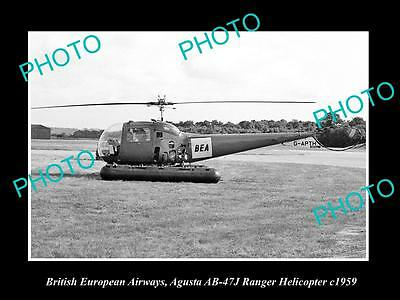 OLD LARGE HISTORIC PHOTO OF BEA AIRWAYS AGUSTA AB-47J RANGER HELICOPTER c1959