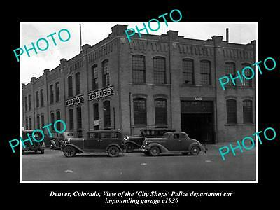 OLD LARGE HISTORIC PHOTO OF  DENVER COLORADO, THE POLICE IMPOUND GARAGE c1930