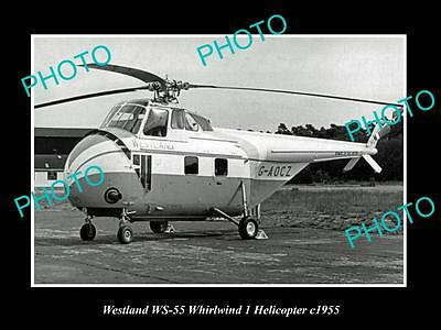 OLD LARGE HISTORIC PHOTO OF WESTLAND WS-55 WHIRLWIND 1 HELICOPTER c1955
