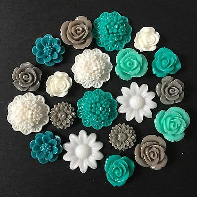 20 Teal Grey White Mixed Flower Resin Cabochon Flatback Embellishments DIY