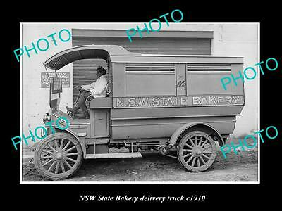 OLD LARGE HISTORIC PHOTO OF NSW STATE BAKERY DELIVERY VAN, SYDNEY c1910