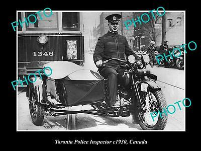 Old Large Historic Photo Of Toronto Police Inspector Motorcycle, 1930 Canada