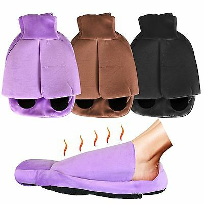 Hot Water Bottle Heated Soft Fleece Feet Pouch Slipper Foot Warmer Snug Muff