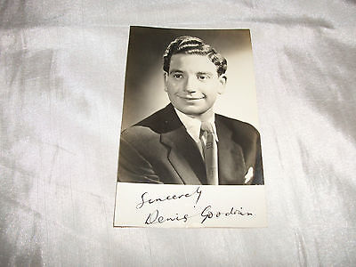 Vintage 1950 S Denis Goodwin Comedy Writer Signed Photograph G+ Autograph Book