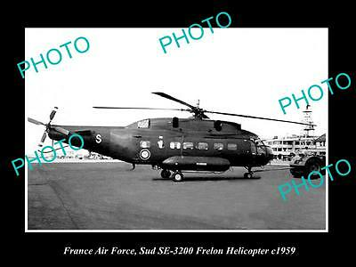OLD LARGE HISTORIC PHOTO OF FRANCE AIR FORCE SUD FRELON HELICOPTER c1959