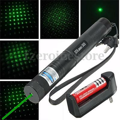 Green Light Laser Pointer Pen Beam Adjustable Focus 532nm 1mw + 18650 + Charger