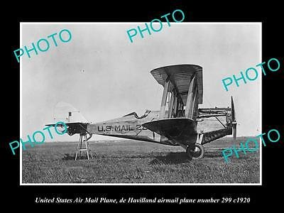 OLD LARGE HISTORIC PHOTO OF THE US MAIL DE HAVILLAND AIRMAIL AEROPLANE c1920
