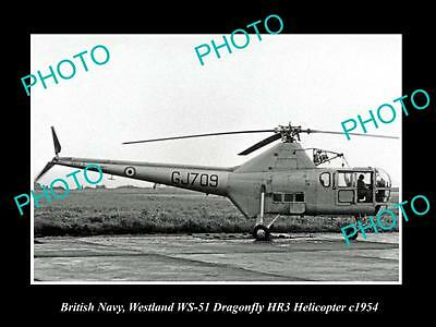 Old Large Historic Photo Of British Navy, Westland Dragonfly Hr3 Helicopter 1954