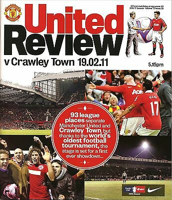 MANCHESTER UNITED v CRAWLEY TOWN FA Cup 5th Round 2010/11 MINT