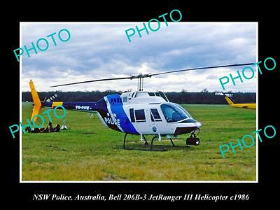 Old Large Historic Photo Of New South Wales Police Bell Jetranger Helicopter '86