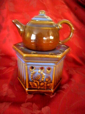 Pottery Oil Burner Teapot and Stand
