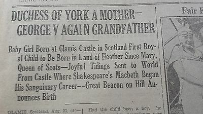 1930 Newspaper Princess Margaret born Duchess of York a mother Royal Family