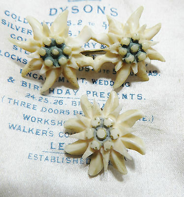 Two Vintage Art Deco 30s 40s Carved Celluloid Plastic Edelweiss Shawl Brooch Pin