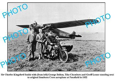 OLD LARGE PHOTO, CHARLES KINGSFORD SMITH, SOUTHERN CROSS PLANE at PARAFIELD 1932