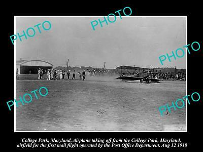 OLD LARGE HISTORIC PHOTO OF COLLEGE PARK MARYLAND, THE 1st AIRMAIL FLIGHT c1918