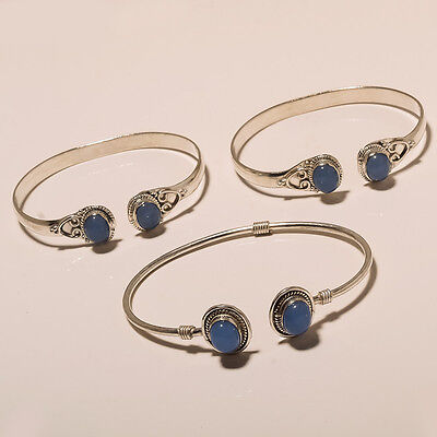 Wholesale 3 Lot Blue Chalcedony Nice 925 Silver Plated Nice Bangle