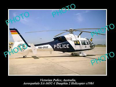 Old Large Historic Photo Of Victorian Police Dauphin 2 Helicopter 1984 Australia