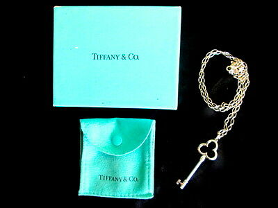 """Tiffany Tefoil Large Key+24""""Sterling Silver Chain Necklace Suede Pouch+Box*GIFT*"""
