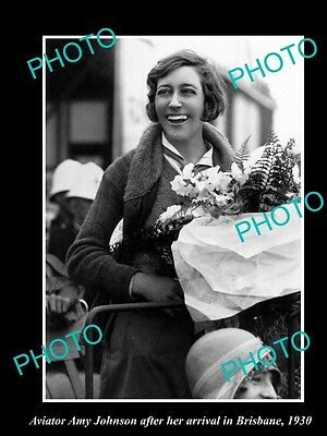 Old Large Historic Aviation Photo Of Amy Johnson Arriving In Brisbane Qld 1930 1