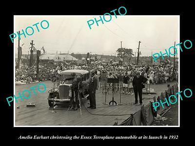 Old Large Historic Photo Of Amelia Earhart At The Essex Terraplane Launch 1932 1