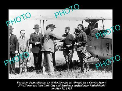 OLD LARGE HISTORIC PHOTO OF BUSTLETON PENNSYLVANIA THE 1st AIRMAIL DELIVERY 1918