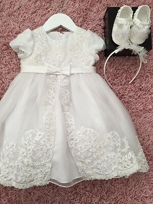 Sarah Louise Christening Dress Age 6- 12 Months Plus Shoes And Headband