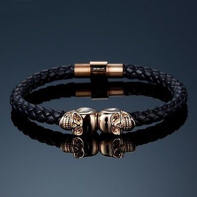 EGNT 18K Gold Plated Skull Bracelet BLACK GENUINE LEATHER MENS WOMENS BANGLE NEW