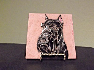 "Hand Painted 6"" Scottish Terrier Tile/Trivet by ""Painted Tiles"""