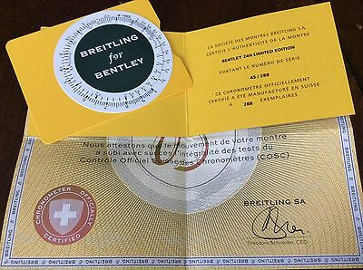 Breitling COSC Certificate Of Authenticity, limited edition card , slide ruler.
