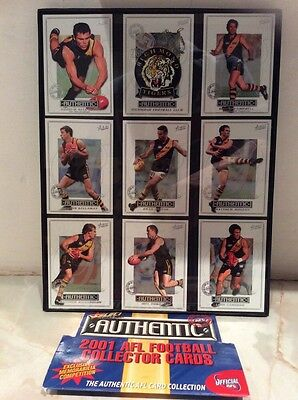 RICHMOND TIGERS1 AUSTRALIA RULES FOOTBALL 2001 Collector Cards X9 In Glass Frame